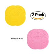 ForUBeauty Set of 2/3 Silicone Makeup Brushes Cleaning Mat Pad Cosmetic Brush Cleaning Mat Washing Tool with Suction Cup Yellow & Pink