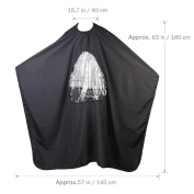 HEHEN Salon Hairdressing Hairdressing Cape Gown with Viewing Window (Black)