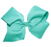 WD2U Extra Large GrosGrain Knot Hair Bow Alligator Clip Aqua 1092A