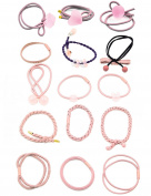 15 pcs Fancyin Assorted Colourful Popular Pony-hair Holders Hair Ties Elastic Hair-Bands for women