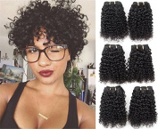 Malaysian Short Curly Hair 3 Bundles Kinkys Curly Weave 100% Human Hair Extensions Jet Black 6A Grade By Lovenea