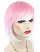 Rose Net Wigs - New Chic Pink and White Gradient Cosplay Bob Wig with Oblique Bangs Short Straight Synthetic Women's Wigs 007E