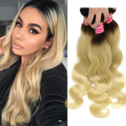 Nadula Brazilian Remy Virgin Human Hair Bundles Body Wave T1b/613# Ombre Blonde Hair Weft Extensions