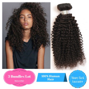 Ruiwen Hair 3 Bundles Brazilian Hair Curly Hair Grade 7A Unprocessed Human Hair Weave Natural Black colour Water Wave Hair(16 18 50cm )