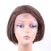 HAIR WAY Lace Front Braided Wigs for Black Women with Baby Hair 15cm Braided Wigs Short Bob Lace Wigs for Daily Wear Half Hand Tied #27/30