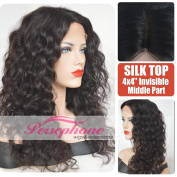 Cheap Curly Human Hair Wigs Silk Top For Black Women Invisible Middle Part Brazilian Best Remy Silk Base Human Lace Front Wig African Americans With Baby Hair 130% 41cm #1B
