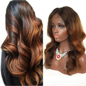 RosesAngel Ombre Human Hair Wig for Black/White Women Body Wave Brazilian Glueless Lace Front Human Hair Wigs With Baby Hair 41cm Lace Front Wig