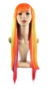 "Xiaoyu 10""65cm Harajuku Style Rainbow Colour Long Female Straight Cosplay Wig"