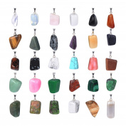 Hicarer 30 Pieces Irregular Healing Stone Beads Pendants Quartz Crystal Stone Charms for Necklace Jewellery Making with Storage Bag