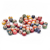 100 Pieces Flower Glaze Ceramics Spacer Beads for DIY Jewellery Making 6mm Multi-Colour By DINGJIN