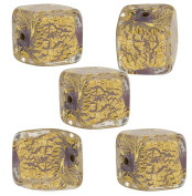 Viola Cracked Gold Foil Cube 10mm, 5 Pieces Authentic Murano Glass Bead