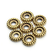 Linsoir Beads Tiny Round Disc Spacer Beads 8mm Flat Spacer Jewellery Findings Antique Gold Tone Pack of 100