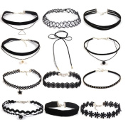 Dmeiling 12 Pieces Lace Choker Necklace for Women Girls, Black Velvet Choker Necklace for Women Lace Choker Tattoo Necklace Adjustable