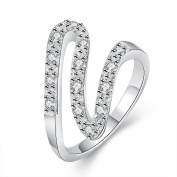 Dmeiling Dmeiling Jewellery Womens Wave Design 925 Sterling Silver Plated Cubic Zirconia CZ Fashion Eternity Ring Wedding Band Sizes 7-8