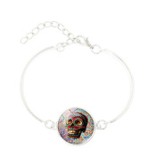 primerry Hot Sell Skull Halloween Gemstone Silver Plated Braided Bracelet