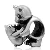925 Sterling Silver Panada Mother Charm Son Charm Animal Charm Pet Charm Anniversary Charm for Pandora Charms Bracelet