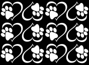 Paw in Heart 2.5cm - 1.9cm - White 17CC851 Fused Glass Decals