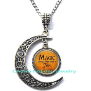 Silver moon necklace,Simple necklace,Magic always comes with a price Quote Necklace - Book Lover Jewellery - Bookworm Necklace - Reading Quote