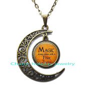 Bronze moon necklace,Simple necklace,Magic always comes with a price Quote Necklace - Book Lover Jewellery - Bookworm Necklace - Reading Quote