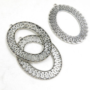 Price per 1 Pieces Antique Silver Tone Jewellery Making Charms Supply Z7IW6 Oval Cabochon Base Frame