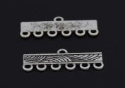 6 Strand End Bar Clasps Necklace Clasp Bails Pendants Charms Connector Link 23X10mm Pack of 20Pcs