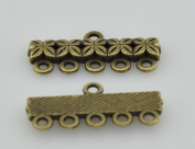 Bronze 5 Strand End Bar Clasps Necklace Clasp Bails Pendants Charms Connector Link 20X10mm Pack of 20Pcs