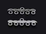 5 Strand End Bar Clasps Necklace Clasp Bails Pendants Charms Connector Link 28X9mm Pack of 20Pcs
