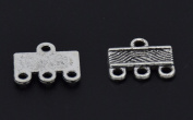 3 Strand End Bar Clasps Necklace Clasp Bails Pendants Charms Connector Link 12X10mm Pack of 30Pcs