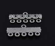 5-Strand End Bar Clasps Necklace Clasp Bails Pendants Charms Connector Link 25X11mm Pack of 20Pcs