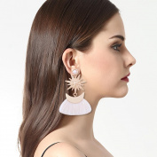 Hunputa Fashion Womens Pearl Earrings Rhinestones Crystal Star Moon Pendant Tassel Fringe Drop Dangle Earrings Eardrop Jewerly Charm Gift