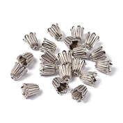 Pandahall 20pcs Tibetan Style Bead Caps, Lead Free and Cadmium Free, Antique Silver Jewellery Making End Caps, 10x10mm, Hole