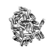 100PCS Stainless Steel Ball Chain Connector Clasps Silver Tone Findings 6mmx2.3mm,Fit 1.5mm-2mm Ball Chain