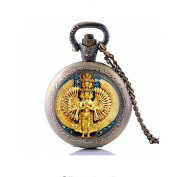 Avalokiteshvara statue Pocket Watch Necklace,statue of Thousand Armed Avalokiteshvara pendant, Buddhist Bijoux, jewellery