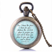 Bible Verse Pocket Watch Necklace, I know the plans I have for you - Faith Quote jewellery Glass Photo Religious