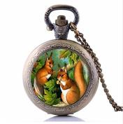Vintage Squirrel Art Squirrel Pocket Watch Necklace, Woodland Animal Lover Gift, Necklace