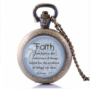 FAITH HEBREWS 11:1 Pocket Watch Necklace, Bible Quote Jewellery, Scripture Pendant, Faith Necklace Christian Gift