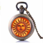 Fashion Sun Pocket Watch With Necklace, Vintage Boho Astrology Jewellery