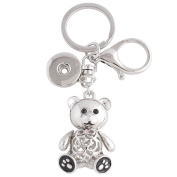 Lovmoment Keychian Alloy Keychain with Pendant and Buttons Fit Snaps Chunks Snaps Jewellery