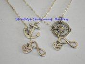 Travel Necklace, Nautical themed, silver compass and anchor,I Love You Necklace. Infinity Necklace. I Love You Charm Necklace