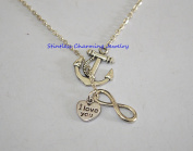 anchor necklace ,I Love You Necklace. Infinity Necklace. I Love You Charm Necklace. Love Necklace. Silver Necklace. Handmade Necklace