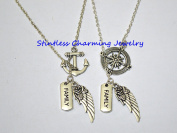 Angel Wing Necklace,Compass necklace Anchor necklace, Best friends necklaces,family Necklace,Set of 2 best friends, Sisters gifts, couple set, boyfriend Girlfriend gifts