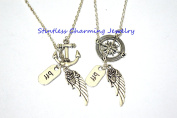 Compass necklace Anchor necklace, Best friends necklaces,Best Friend Gift, Anchor Angel Wing Necklace, Fairy Necklace, Refuse To Sink