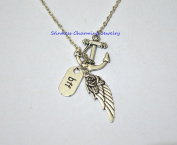 Best Friend Gift, Anchor Angel Wing Necklace, Fairy Necklace, Refuse To Sink, Sister Necklace, Mother, In Memory Necklace,BFF Necklace