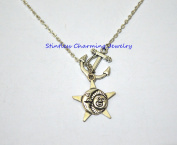 Silver Anchor Necklace,Sea Necklace ,Nautical Necklace,Sun and moon friendship necklaces