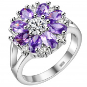 HMILYDYK Women 925 Sterling Silver Plated Snowflake Cubic Zirconia Ring with Purple Amethyst & Clear Cystals
