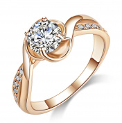 Acefeel Fashion Rose Gold Cubic Zirconia Promise Engagement Wedding Ring