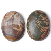 1 x Mixed Picasso Jasper 30 x 40mm Oval-Shaped Flat-Backed Cabochon - (CA16659-8) - Charming Beads