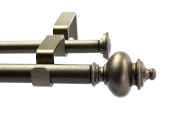 Urbanest Round Urn Adjustable Double Drapery Curtain Rod Set, 1.6cm , 70cm - 120cm , Antique Gold