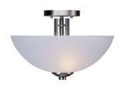 Forte Lighting 2404-02 2 Light 36cm Wide Semi-Flush Ceiling Fixture with White Li, Brushed Nickel