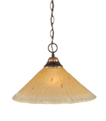 Toltec Lighting 10-BC-710 One-Light Chain Pendant Black Copper Finish with Amber Crystal Glass, 41cm